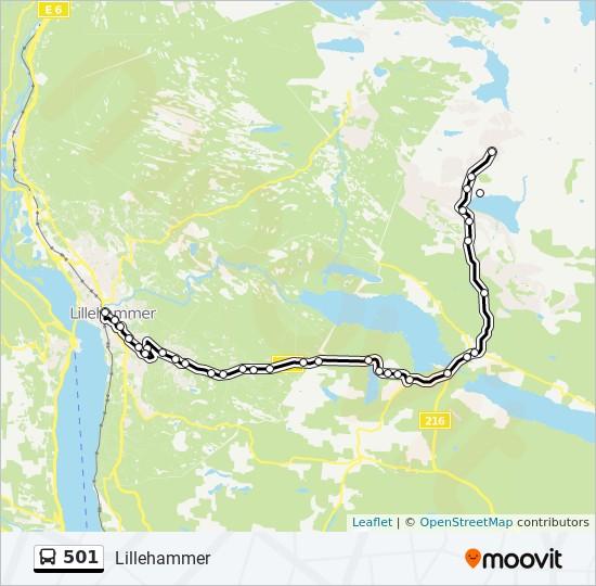 501 buss Linjekart