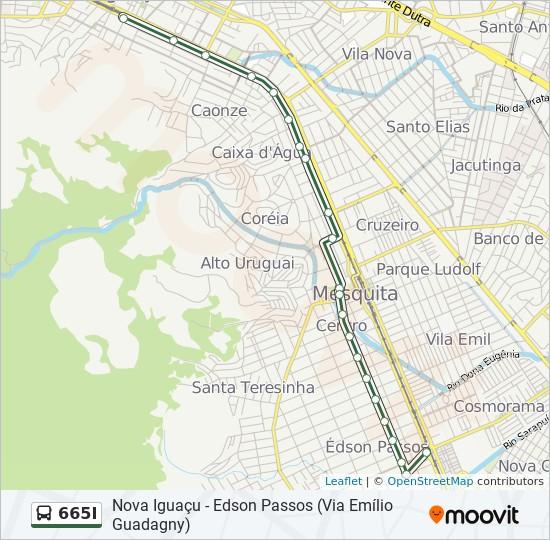 Mapa da linha 665I de ônibus