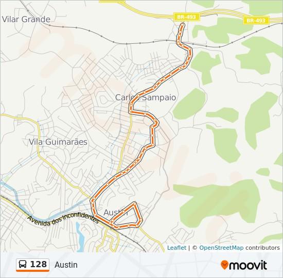 Mapa da linha 128 de ônibus