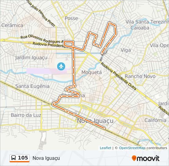 Mapa da linha 105 de ônibus