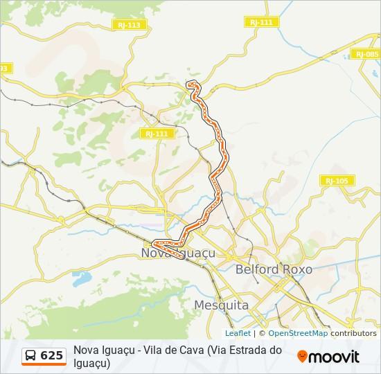 Mapa da linha 625 de ônibus