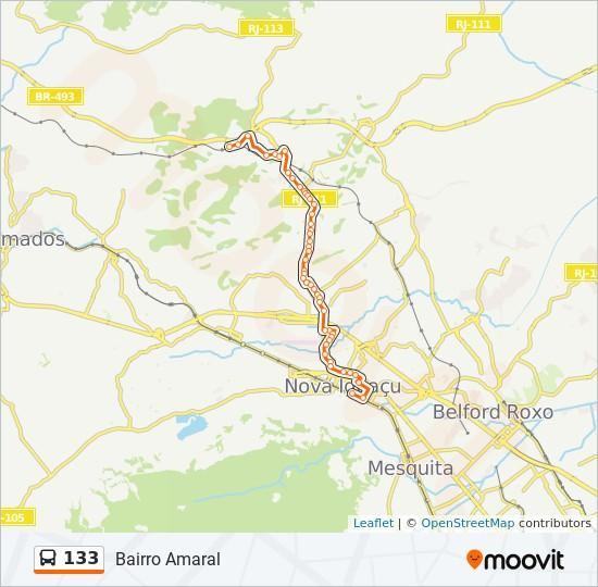 Mapa da linha 133 de ônibus