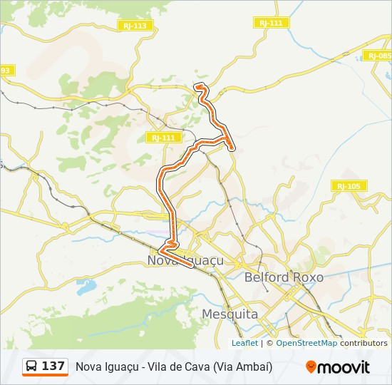 Mapa da linha 137 de ônibus