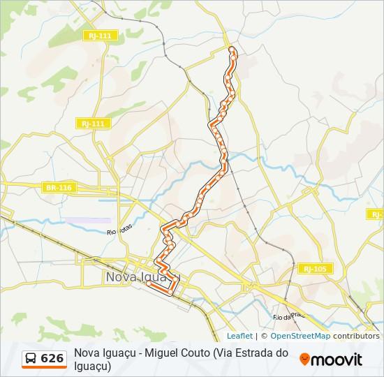 Mapa da linha 626 de ônibus