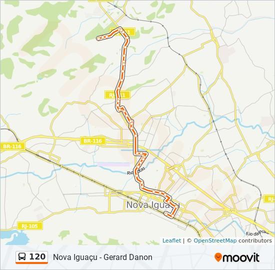 Mapa da linha 120 de ônibus