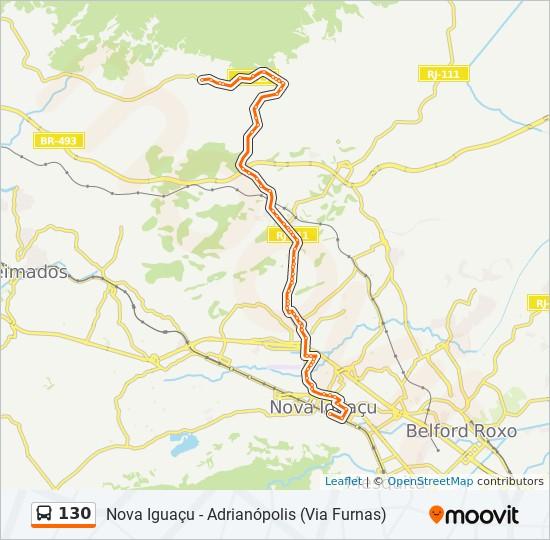 Mapa da linha 130 de ônibus