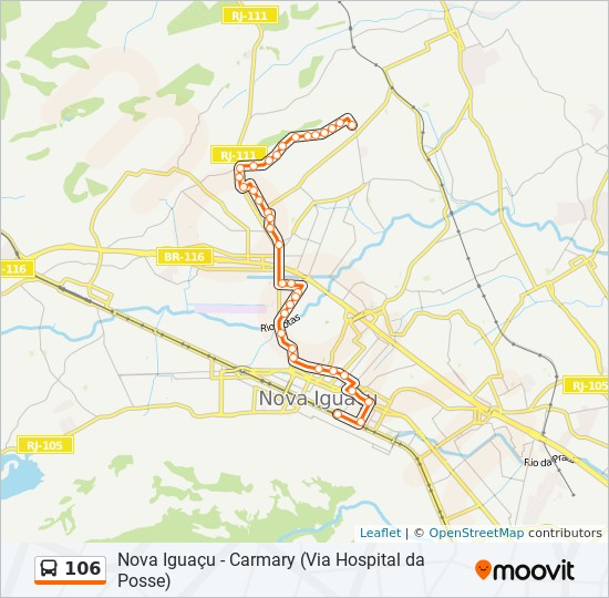 Mapa da linha 106 de ônibus