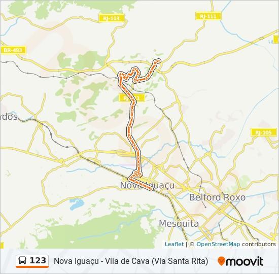 Mapa da linha 123 de ônibus