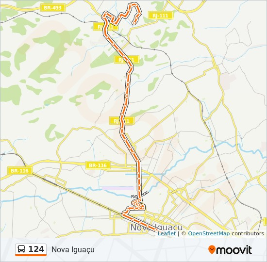Mapa da linha 124 de ônibus