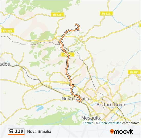 Mapa da linha 129 de ônibus