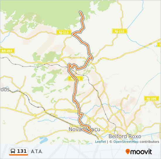 Mapa da linha 131 de ônibus