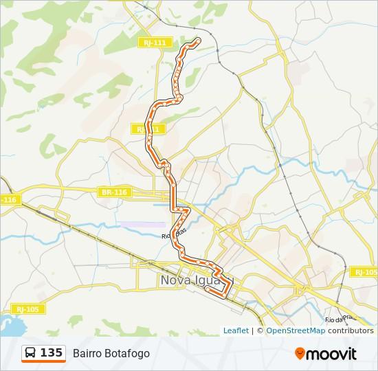 Mapa da linha 135 de ônibus