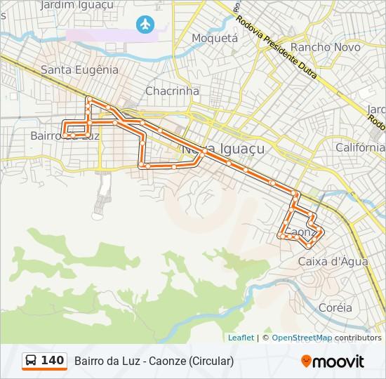 Mapa da linha 140 de ônibus
