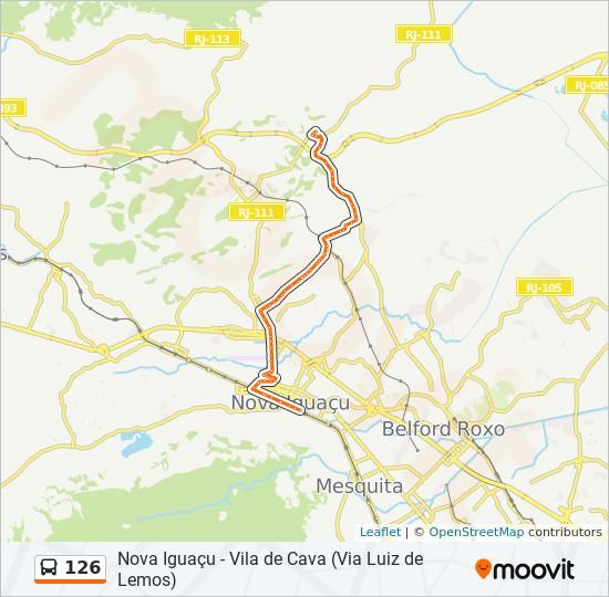 Mapa da linha 126 de ônibus