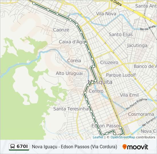 Mapa da linha 670I de ônibus