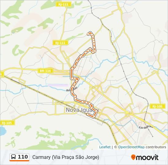 Mapa da linha 110 de ônibus