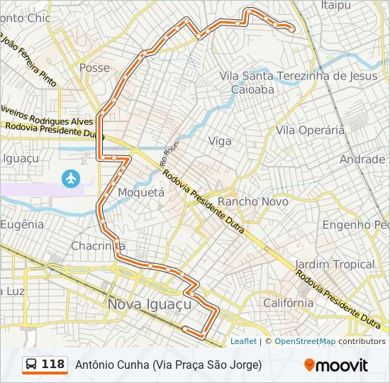 Mapa da linha 118 de ônibus