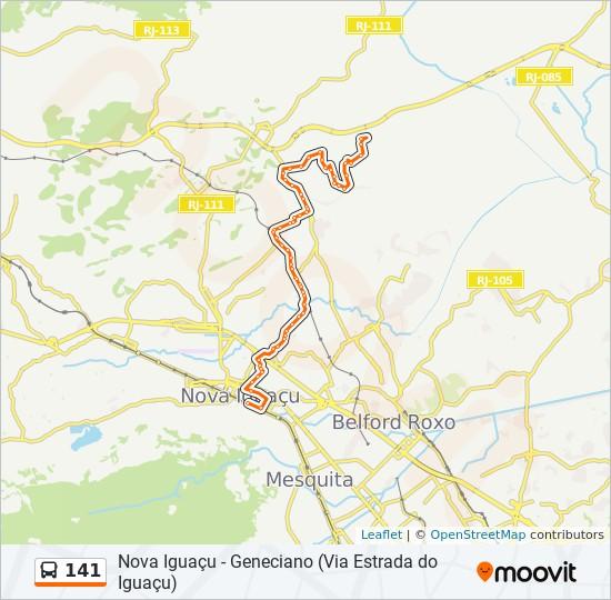 Mapa da linha 141 de ônibus