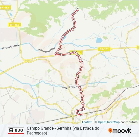Mapa da linha 830 de ônibus