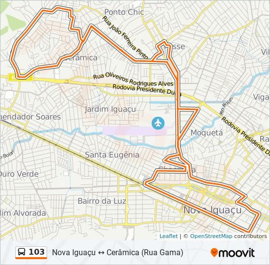 Mapa da linha 103 de ônibus