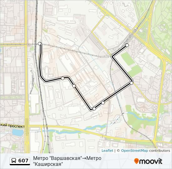 Автобус 607: карта маршрута