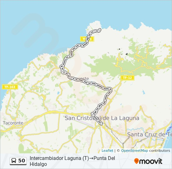Punta Hidalgo Tenerife Mapa.Linea 50 Horarios Mapas Y Paradas Intercambiador Laguna T Punta Del Hidalgo
