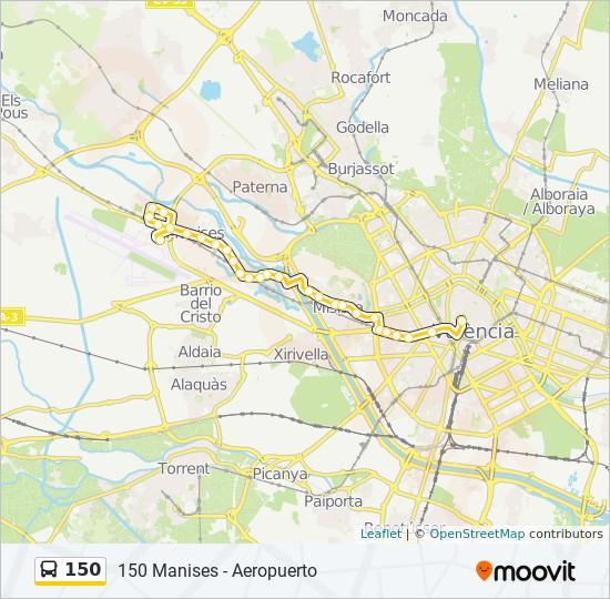 Mapa de 150 de autobús