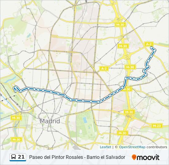 Mapa Lineas Emt Madrid.Linea 21 Horarios Mapas Y Paradas Pintor Rosales