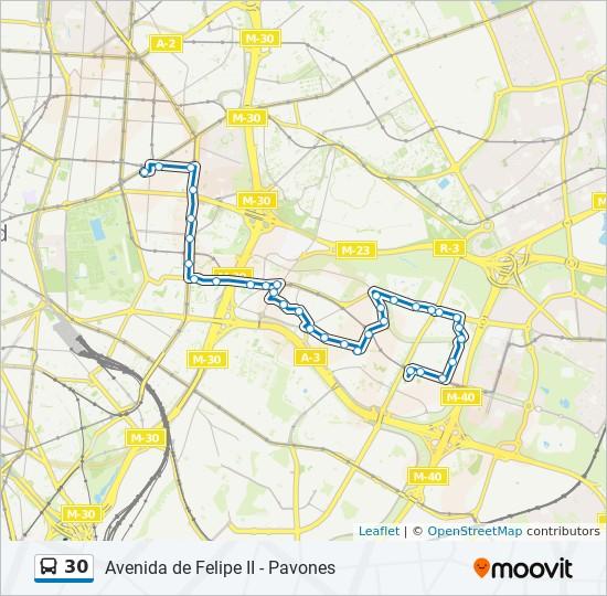 Mapa Lineas Emt Madrid.Linea 30 Horarios Mapas Y Paradas Pavones
