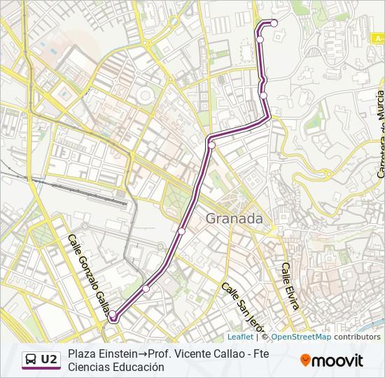 Mapa de U2 de autobús