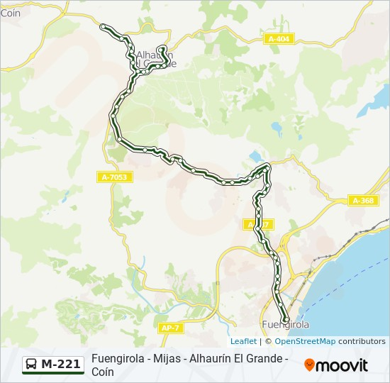 Mapa De Coin Malaga.M 221 Route Time Schedules Stops Maps Coin