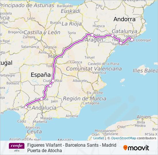 Mapa Recorrido Ave Barcelona Sevilla.Linea Ave Horarios Mapas Y Paradas Sevilla
