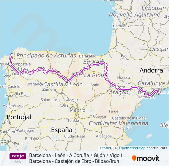 Alvia Route Time Schedules Stops Maps A Coruña