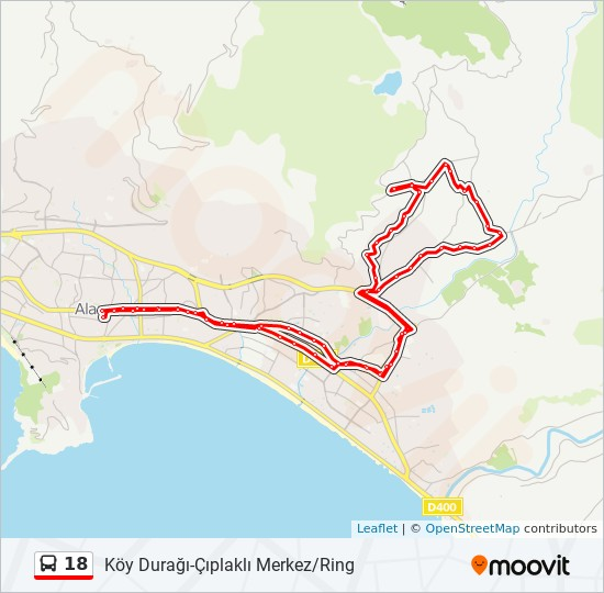 18 otobüs Hat Haritası