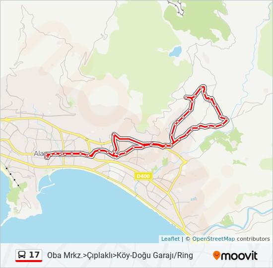 17 otobüs Hat Haritası