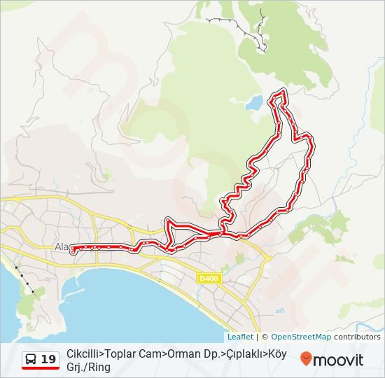 19 otobüs Hat Haritası
