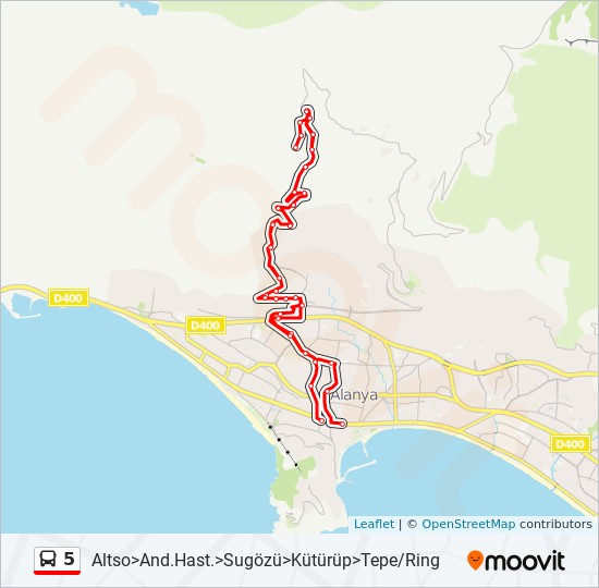 5 otobüs Hat Haritası