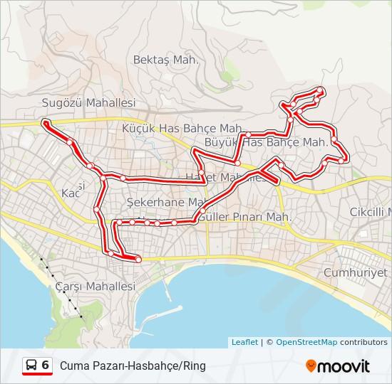 6 otobüs Hat Haritası