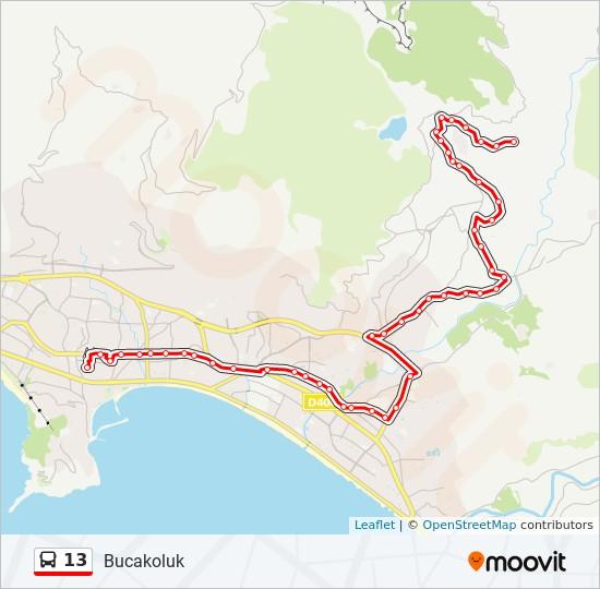 13 otobüs Hat Haritası