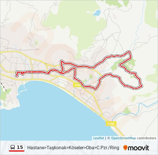 15 otobüs Hat Haritası