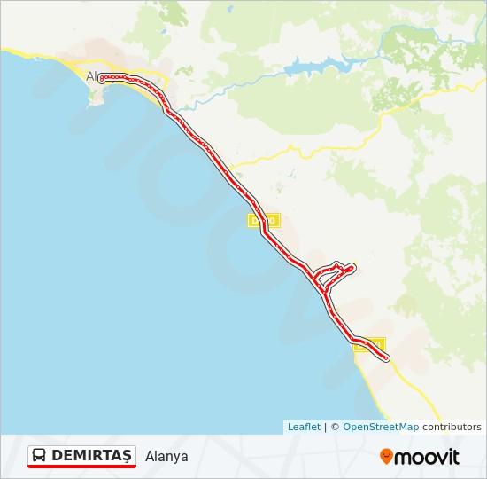 DEMIRTAŞ otobüs Hat Haritası
