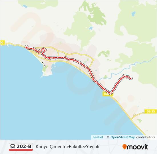 202-B otobüs Hat Haritası