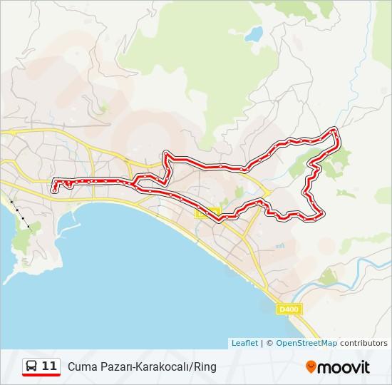 11 otobüs Hat Haritası