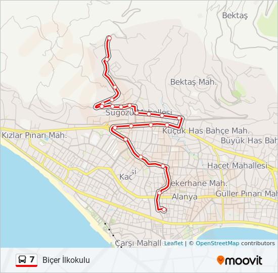7 otobüs Hat Haritası