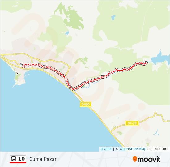 10 otobüs Hat Haritası