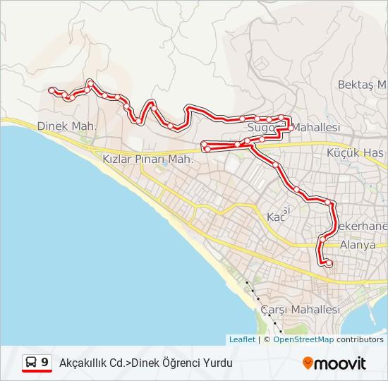 9 otobüs Hat Haritası