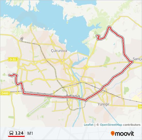 Hat 124: Hareket Saatleri, Haritalar & Duraklar - M1