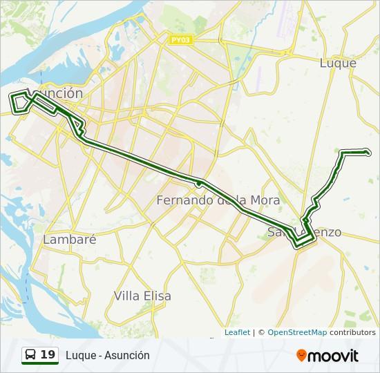19 bus Line Map