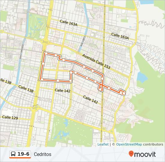 Mapa da linha 19-6 de SITP