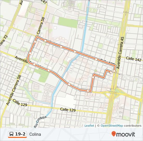 Mapa da linha 19-2 de SITP